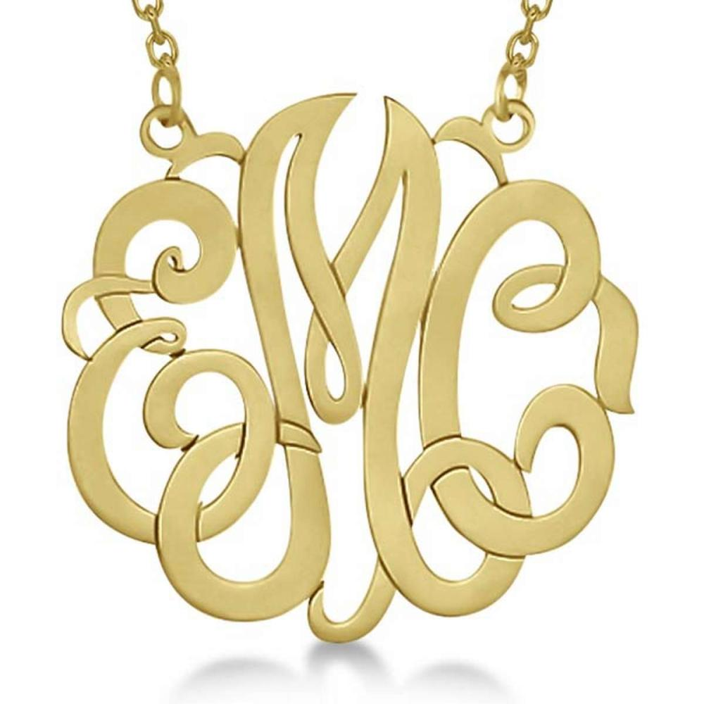 Personalized Monogram Pendant Necklace in 14k Yellow Gold #PAPPS20819