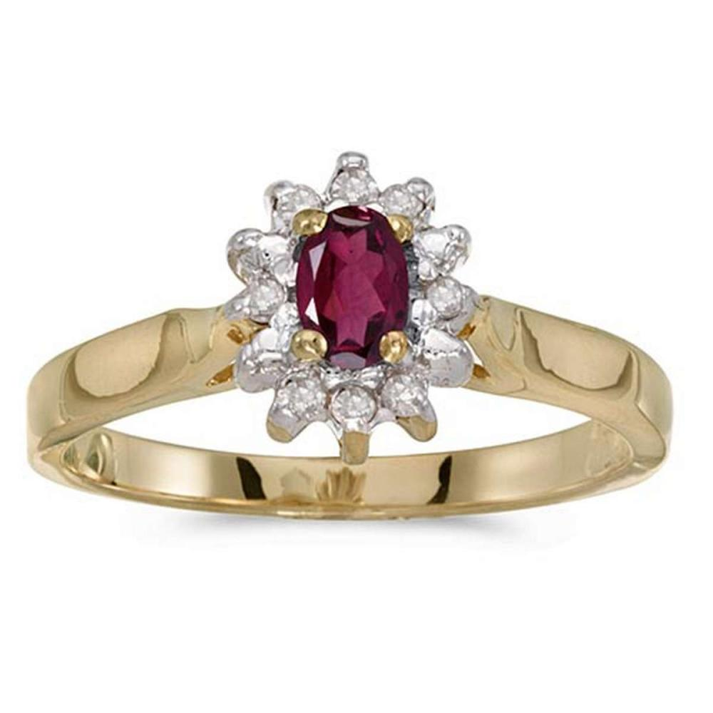 Certified 10k Yellow Gold Oval Rhodolite Garnet And Diamond Ring #PAPPS50601