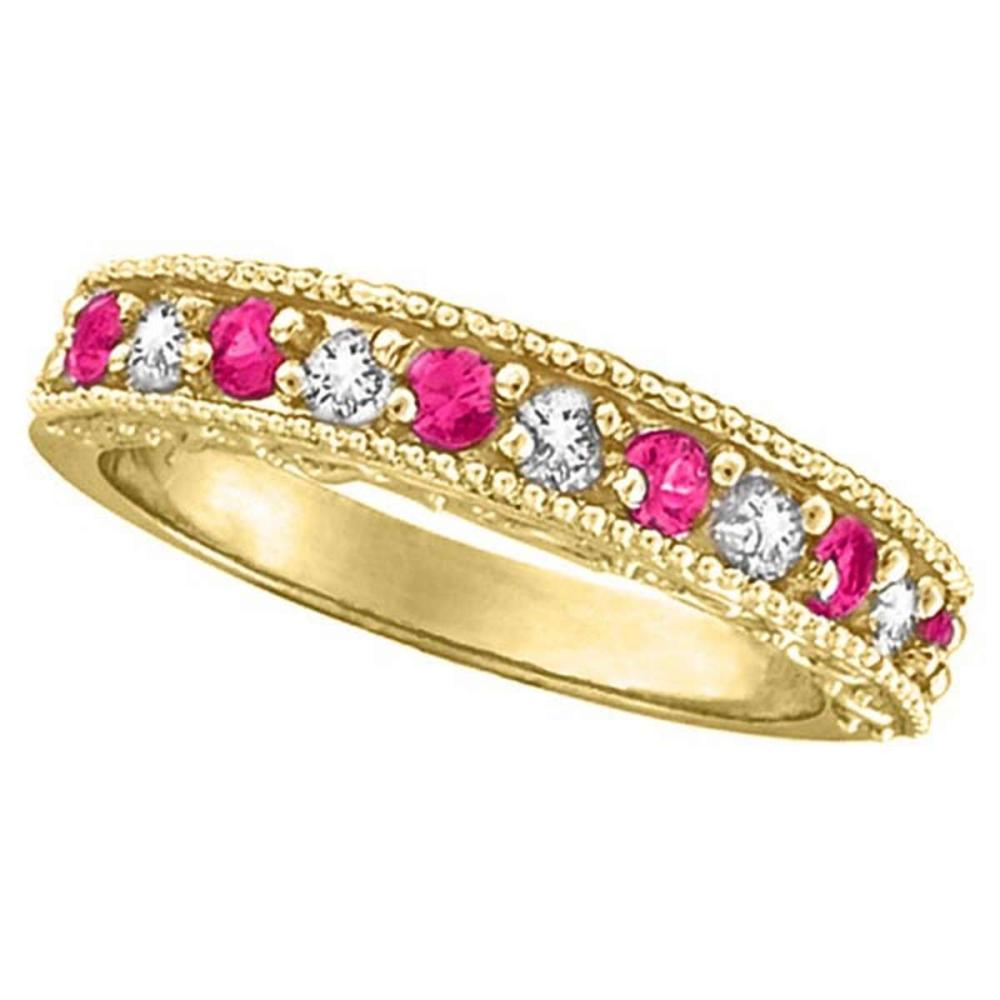 Designer Diamond and Pink Sapphire Ring in 14K Yellow Gold (0.61 ctw) #PAPPS51950