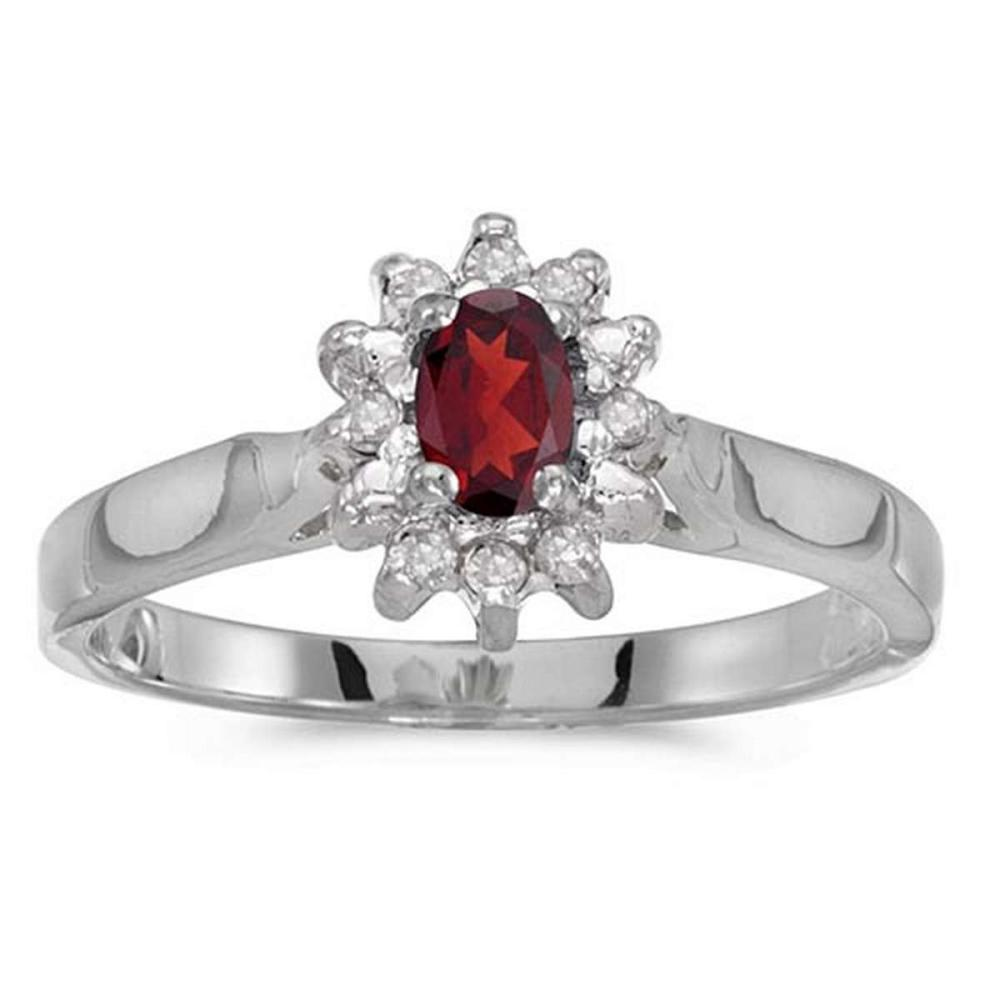 Certified 10k White Gold Oval Garnet And Diamond Ring #PAPPS50596