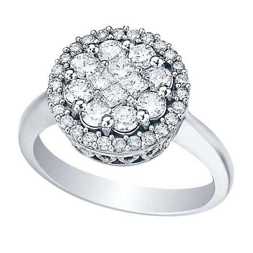 Round and Princess Diamond Clusters Flower Ring 14k White Gold (1.00ct) #PAPPS51912