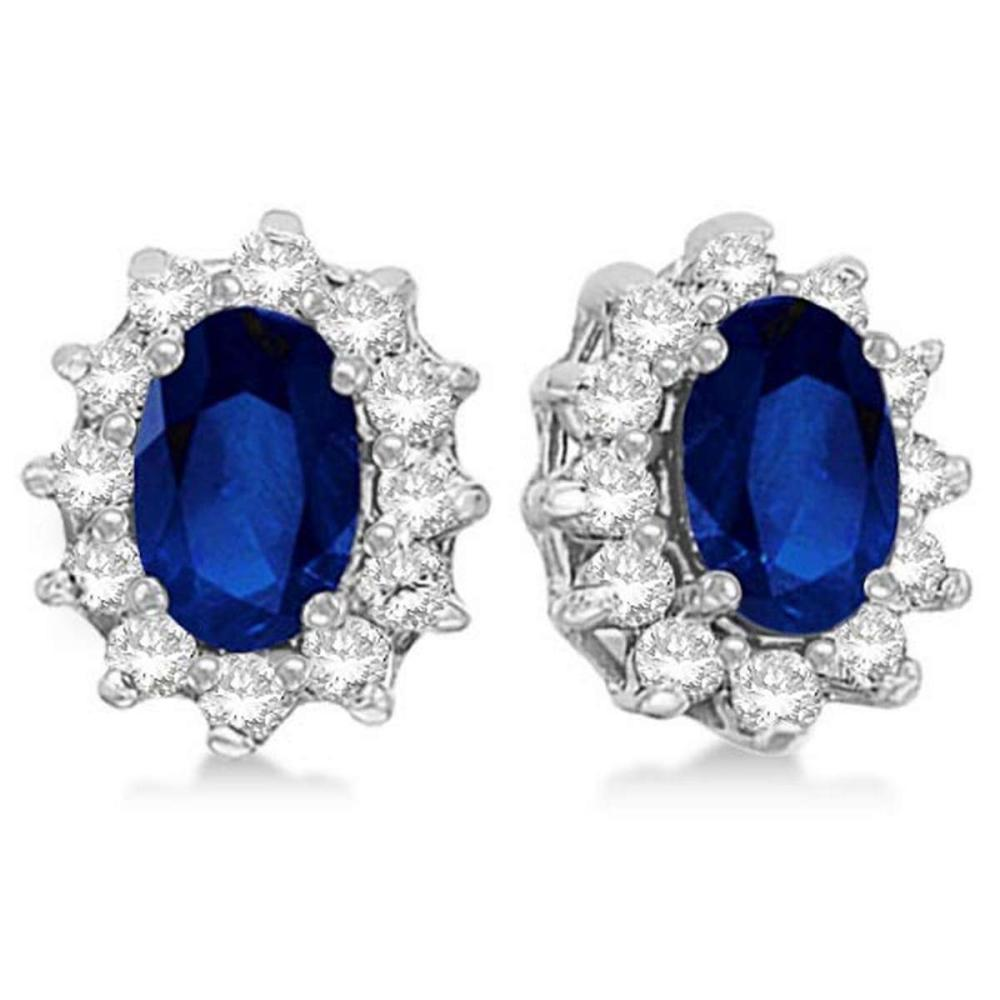 Oval Blue Sapphire and Diamond Accented Earrings 14k White Gold (2.05ct) #PAPPS51929