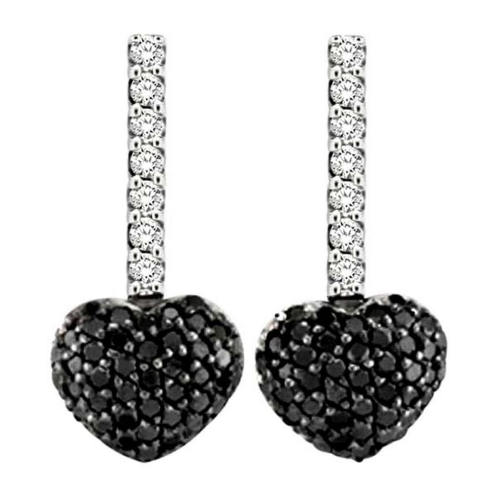 Black and White Diamond Puffed Heart Earrings in 14k White Gold (0.84 ctw) #PAPPS51557