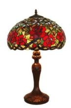 TIFFANY STYLE RED ROSES TABLE LAMP 24 IN #99519v2