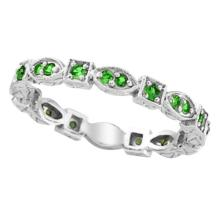 Emerald Eternity Stackable Ring Anniversary Band 14k White Gold (0.47ct) #51965v3