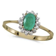 Emerald and Diamond Right Hand Flower Shaped Ring 14k Yellow Gold (0.45ct) #53107v3