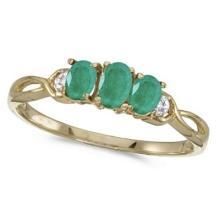 Oval Emerald and Diamond Three Stone Ring 14k Yellow Gold (0.65ctw) #53111v3