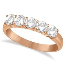 Five Stone Diamond Ring Anniversary Band 14k Rose Gold (1.00ctw) #52256v3