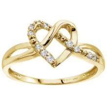 Diamond Knot Heart Shaped Right Hand Ring 14k Yellow Gold (0.10ct) #53197v3