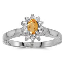 Certified 10k White Gold Oval Citrine And Diamond Ring 0.23 CTW #25609v3