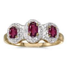 Certified 10k Yellow Gold Oval Rhodolite Garnet And Diamond Three Stone Ring 0.66 CTW #25677v3