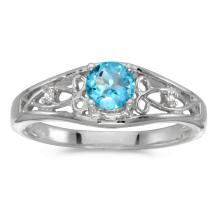 Certified 14k White Gold Round Blue Topaz And Diamond Ring 0.45 CTW #25504v3