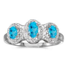 Certified 10k White Gold Oval Blue Topaz And Diamond Three Stone Ring 0.58 CTW #25685v3