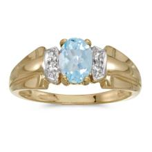 Certified 14k Yellow Gold Oval Aquamarine And Diamond Ring 0.57 CTW #25508v3