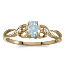 Certified 14k Yellow Gold Oval Aquamarine And Diamond Ring 0.16 CTW #25690v3