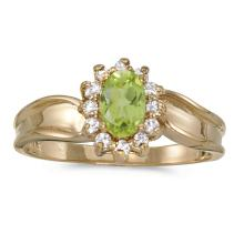 Certified 10k Yellow Gold Oval Peridot And Diamond Ring 0.54 CTW #25700v3