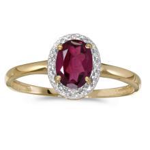 Certified 10k Yellow Gold Oval Rhodolite Garnet And Diamond Ring 0.89 CTW #25603v3