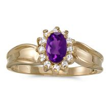 Certified 10k Yellow Gold Oval Amethyst And Diamond Ring 0.48 CTW #25697v3