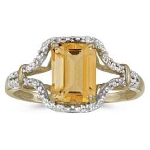 Emerald-Cut Citrine and Diamond Cocktail Ring 14k Yellow Gold #52102v3
