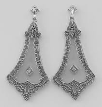 Crystal / Diamond Filigree Drop Earrings - Sterling Silver #97600v2