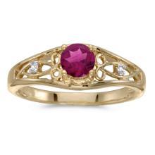Certified 14k Yellow Gold Round Rhodolite Garnet And Diamond Ring 0.43 CTW #25514v3