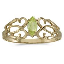 Marquise Peridot Filigree Ring Antique Style 14k Yellow Gold #53255v3