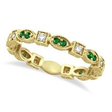Emerald and Diamond Eternity Ring Anniversary Band 14k Yellow Gold #53498v3