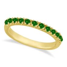 Emerald Semi-Eternity Band Stackable Ring 14K Yellow Gold (0.38 ct) #53534v3