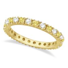 Fancy Yellow Canary and White Diamond Eternity Ring Band 14K Gold 1/2ct #53526v3