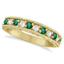 Emerald and Diamond Ring Anniversary Band 14k Yellow Gold (0.30ct) #53585v3
