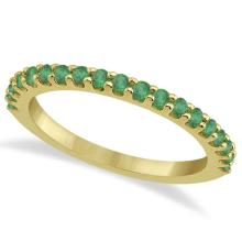 Green Emerald Stone Anniversary Band Pave Set 14K Yellow Gold (0.57ct) #66606v3
