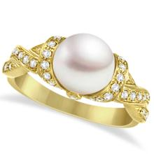 Freshwater Cultured Pearl and Diamond Ring 14k Yellow Gold .25ctw (8mm) #67083v3