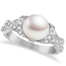 Freshwater Cultured Pearl and Diamond Ring 14k White Gold .25ctw (8mm) #67082v3
