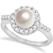 Cultured Freshwater Pearl and Diamond Halo Ring 14K White Gold (7.50mm) #67087v3