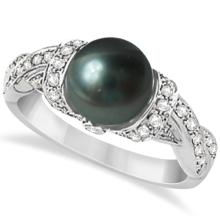 Freshwater Cultured Black Pearl and Diamond Ring 14K W. Gold (8mm) #67088v3
