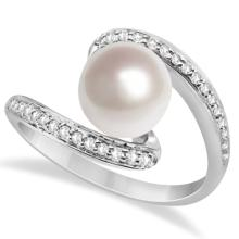 Bypass Freshwater Cultured Pearl and Diamond Ring 14K W. Gold (8mm) #67089v3