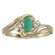 Emerald and Diamond Swirl Ring in 14k Yellow Gold (0.75ctw) #53100v3