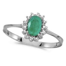 Emerald and Diamond Right Hand Flower Shaped Ring 14k White Gold (0.45ct) #53108v3