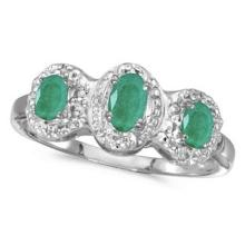 0.65tcw Oval Emerald and Diamond Three Stone Ring 14k White Gold #53101v3