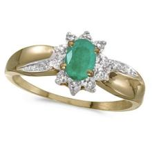 Emerald and Diamond Right Hand Flower Shaped Ring 14k Yellow Gold (0.45ct) #53105v3