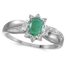 Emerald and Diamond Right Hand Flower Shaped Ring 14k White Gold (0.45ct) #53106v3