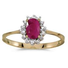 Certified 14k Yellow Gold Oval Ruby And Diamond Ring 0.38 CTW #51218v3