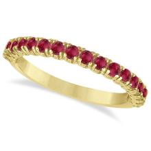 Half-Eternity Pave-set Ruby Stacking Ring 14k Yellow Gold (0.95ct) #65962v3