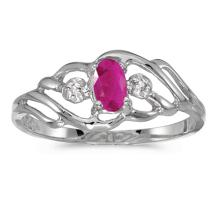 Certified 10k White Gold Oval Ruby And Diamond Ring 0.19 CTW #51162v3