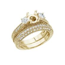 Certified 14K Yellow Gold 1 Ct Fashion Bridal Diamond Ring Set 1.03 CTW #51084v3