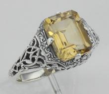 Art Deco Emerald Cut Genuine Citrine Filigree Ring - Sterling Silver #97756v2