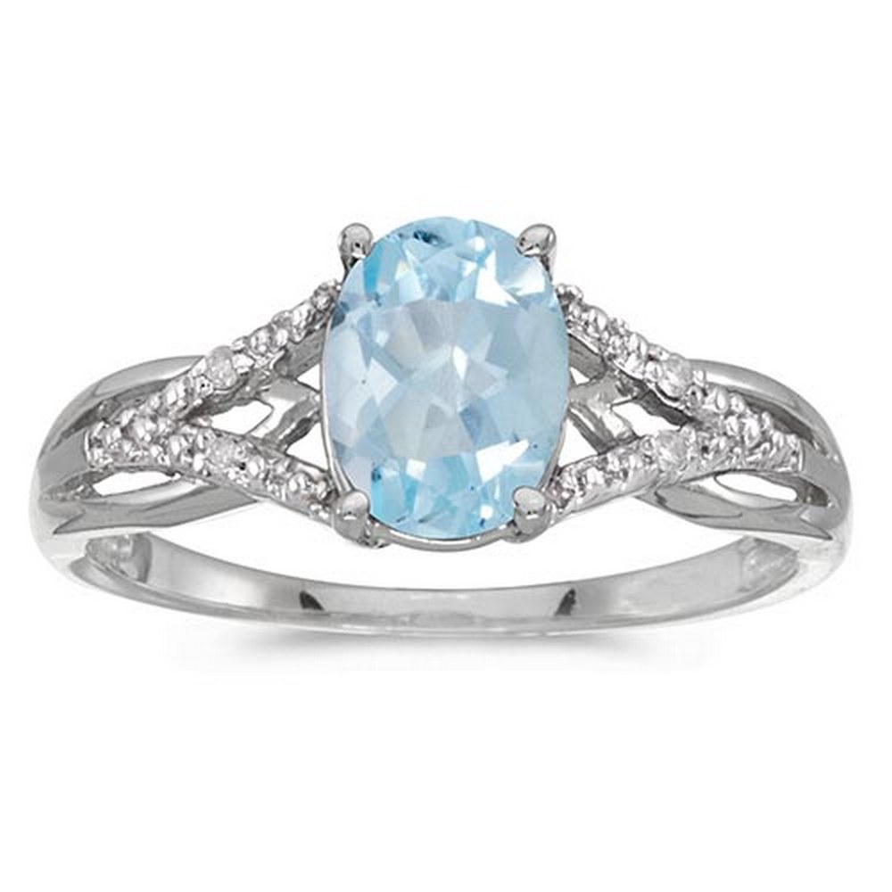 Certified 14k White Gold Oval Aquamarine And Diamond Ring #PAPPS51379
