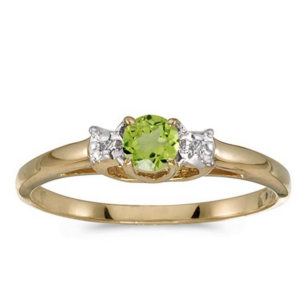 Lot 20161002: Certified 10k Yellow Gold Round Peridot And Diamond Ring #PAPPS51203