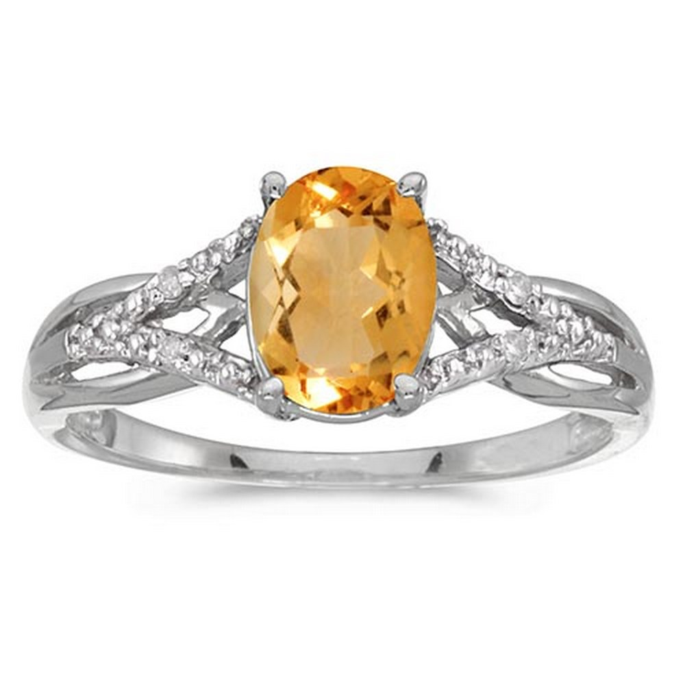 Certified 10k White Gold Oval Citrine And Diamond Ring #PAPPS51461