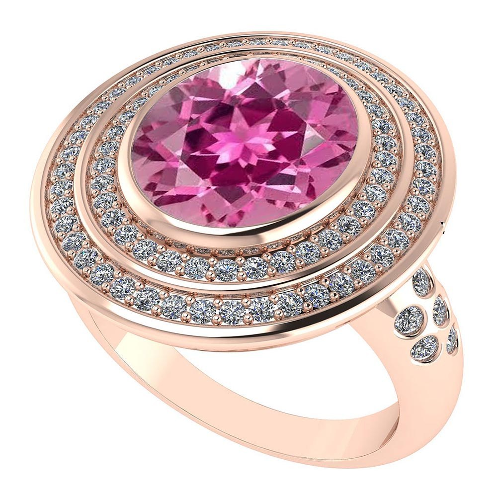 Lot 20161004: Certified 3.30 CTW Genuine Pink Tourmaline And Diamond 14K Rose Gold Ring #PAPPS91575
